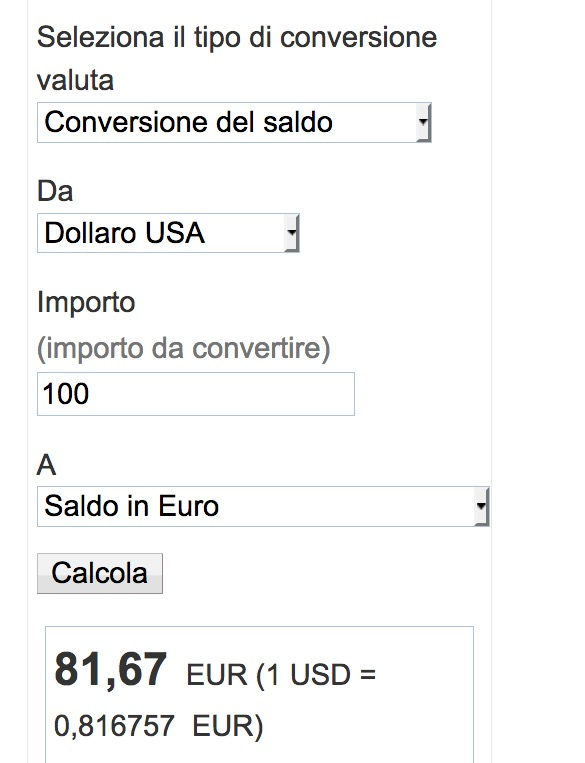 Esempio di conversione di valuta di Paypal da dollari a euro