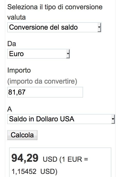 Esempio di conversione di valuta di Paypal da euro a dollari