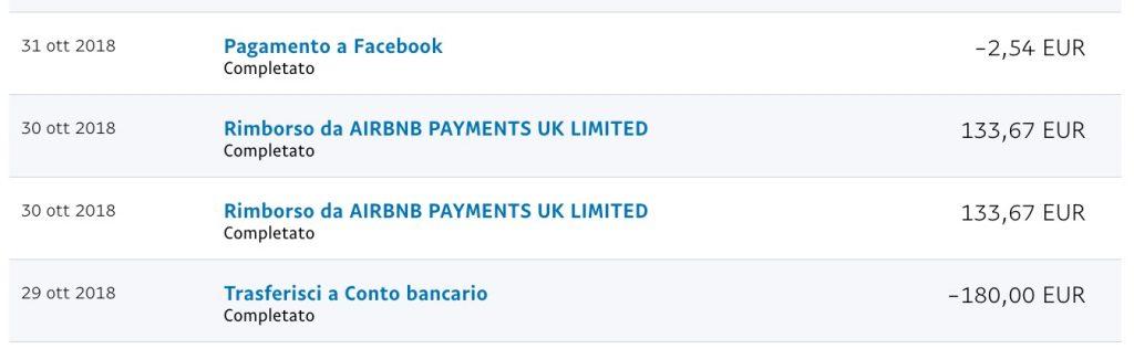 Screenshot del mio conto PayPal con un rimborso