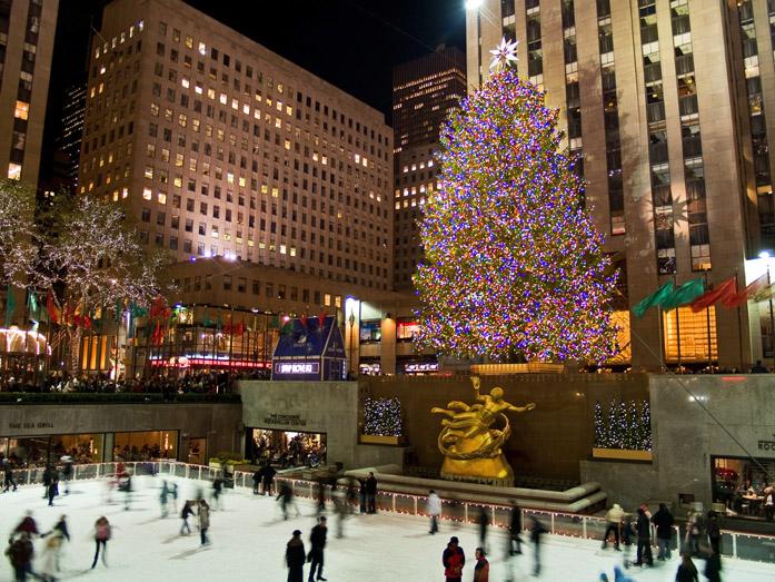 Albero di Natale e pista di pattinaggio del Rockefeller Center, New York
