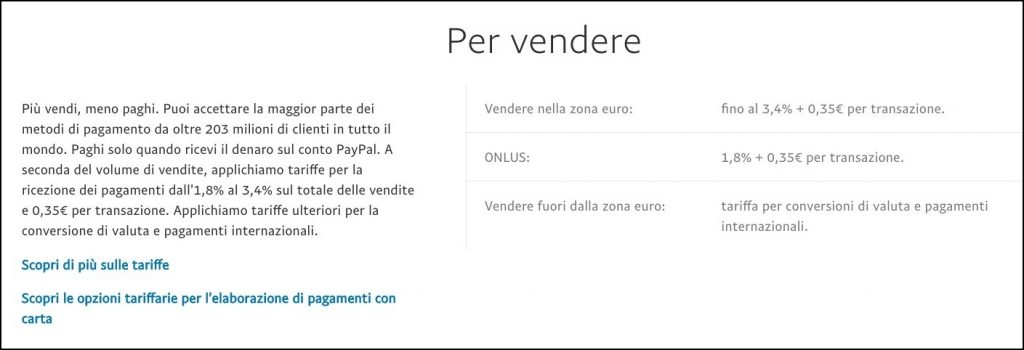 Riepilogo delle tariffe Paypal per i venditori