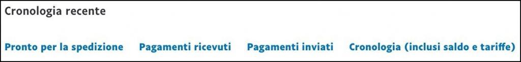 Screenshot della cronologia dei pagamenti ricevuti su PayPal