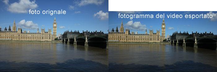 Confronto tra foto originale e foto estratta da un time lapse