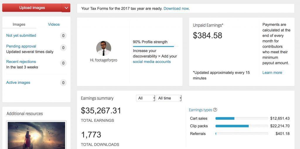 Il pannello di controllo della mia area utente di Shutterstock