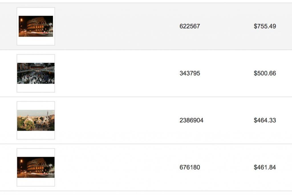 Risultati di vendita su Shutterstock di alcuni time lapse