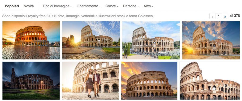 Risultati su Shutterstock della ricerca con la parola Colosseo