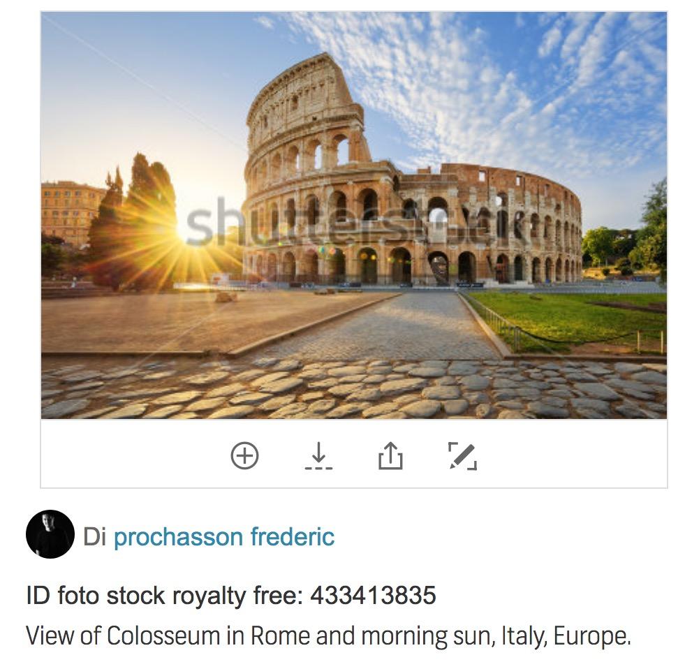 Pagina di vendita su Shutterstock di una foto del Colosseo