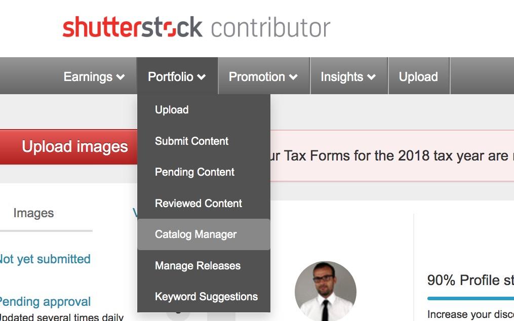 Dashboard di Shutterstock