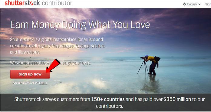 La pagina di iscrizione a Shutterstock