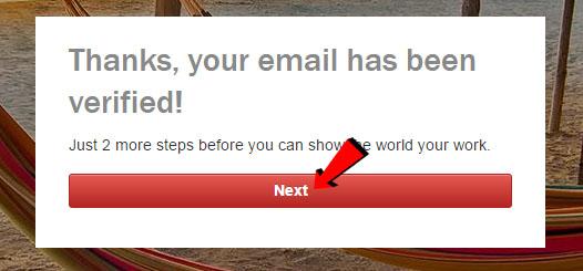 Schermata di conferma che la mail inserita è stata verificata da Shutterstock