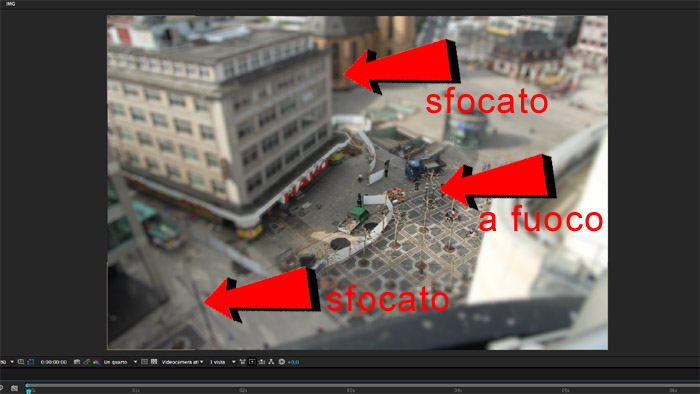 Fotogramma di After Effects tratto da un tutorial per tilt shift