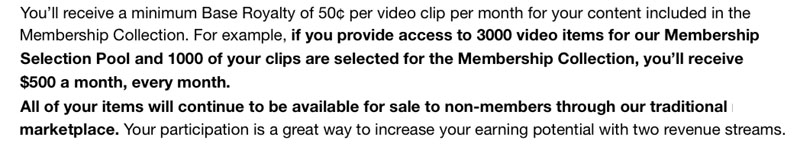 Esempio di rendita passiva tratto da una mail ricevuta dal sito di microstock Pond5 per il lancio della membership area
