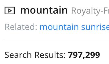 Numero di risultati su Pond5 della query Mountain