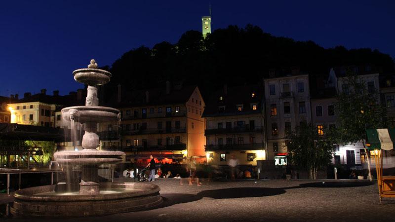 Ljubljana ripresa durante una giornata di riprese per la creazione di stock footage