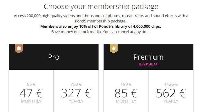 La nuova membership area di Pond5 vende abbonamenti stock footage a prezzi economici