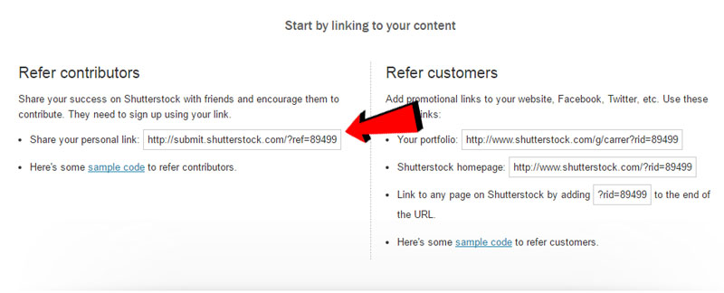 Tutorial su come creare un referral su Shutterstock