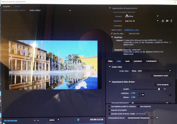 Finestra di export di Adobe Premiere CC 2015