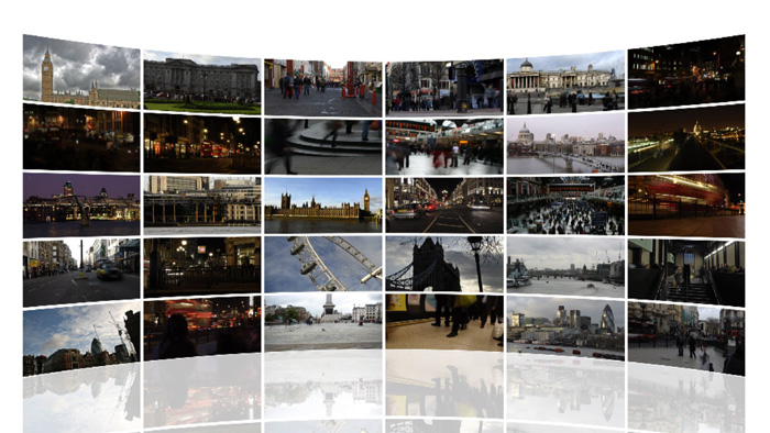 Screenshot tratto da stock footage di Londra multiscreen