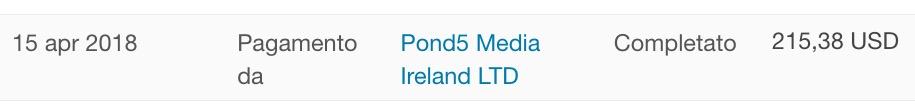 Pagamento ricevuto per la partecipazione alla membership area di Pond5