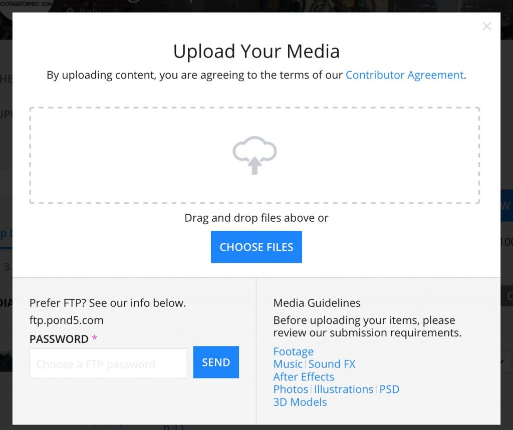 Pagina Upload your media di Pond5