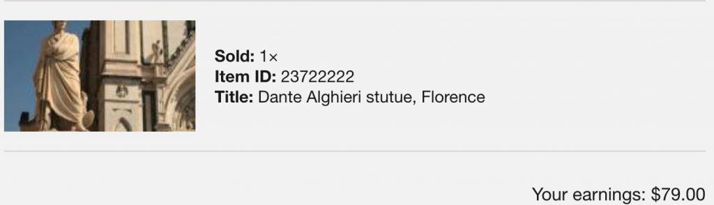 Notifica di vendita su Pond5 di stock footage creato a Firenze