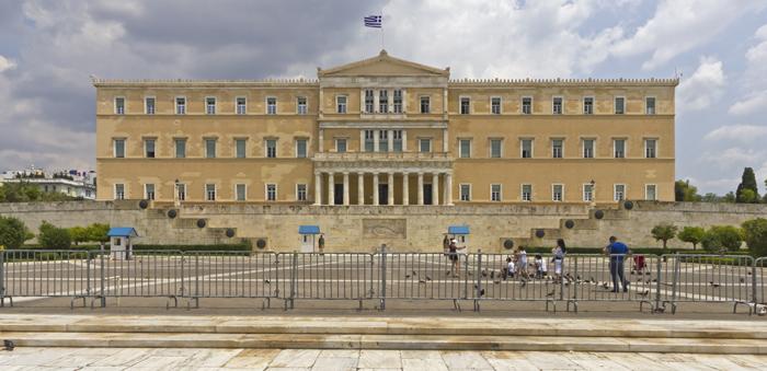 Esterno del parlamento greco di giorno