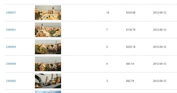 Screenshot dei guadagni di Shutterstock