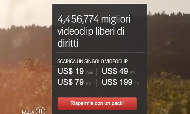 Screenshot dei prezzi di vendita dei video HD su Shutterstock