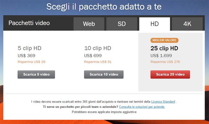 Screenshot dei prezzi dei pacchetti Shutterstock