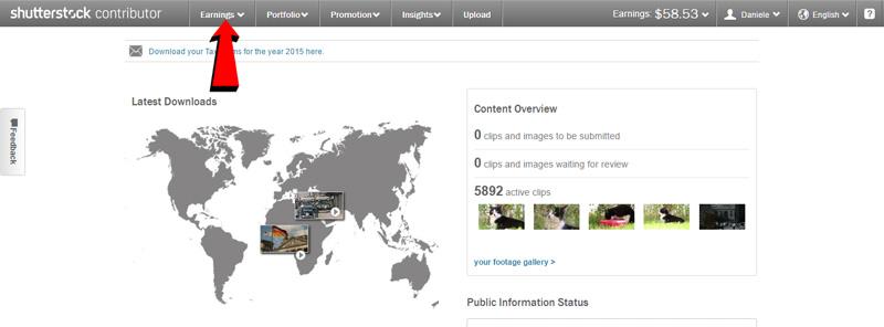 Screenshot della pagina dei report dei guadagni di Shutterstock