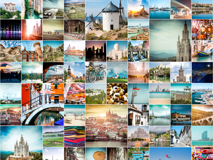 Collage di foto del mercato del microstock
