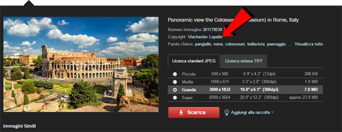 Screenshot di Shutterstock di una foto del Colosseo