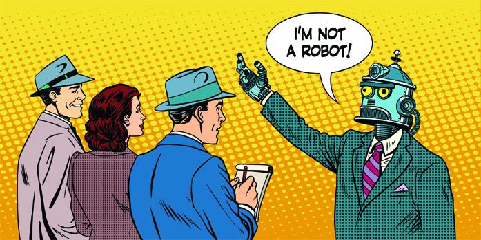 Fumetto di un robot che nega di essere sé stesso
