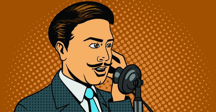 Fumetto di un uomo che parla ad un vecchio telefono da casa