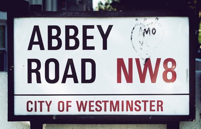 Cartello di Abbey Road a Londra