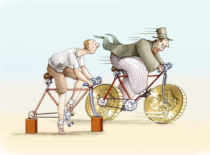 Uomo ricco che corre in bicicletta a fianco ad un uomo povero