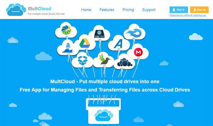 Home page del sito di Multcloud
