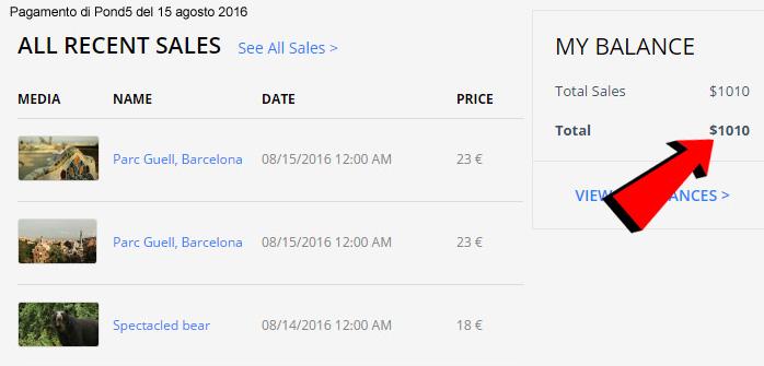 Screenshot del pagamento ricevuto da Pond5 il 15 agosto 2016