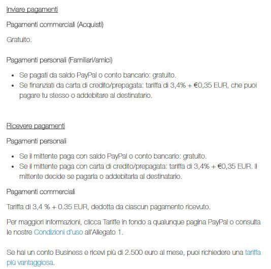 Paypal: le tariffe per inviare soldi