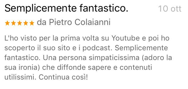 """Recensione scritta da Pietro Colaianni su Itunes al podcast """"Vendere foto e video online"""""""