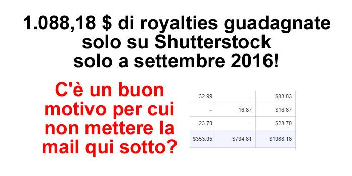 Vendite su Shutterstock a settembre 2016