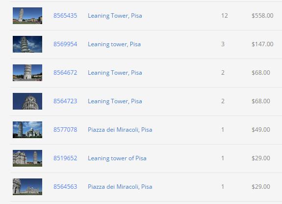 Schermata delle vendite su Pond5 dello stock footage di Pisa