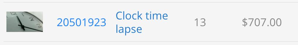 Dati di vendita del time-lapse di un orologio caricato su Pond5