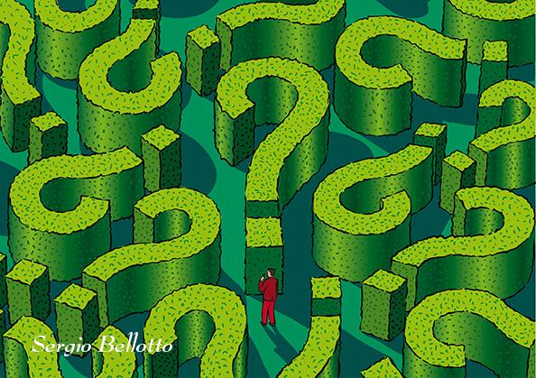 Illustrazione di un labirinto creata da Sergio Bellotto