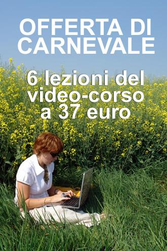 Pubblicità dell'offerta del corso per vendere foto e video online