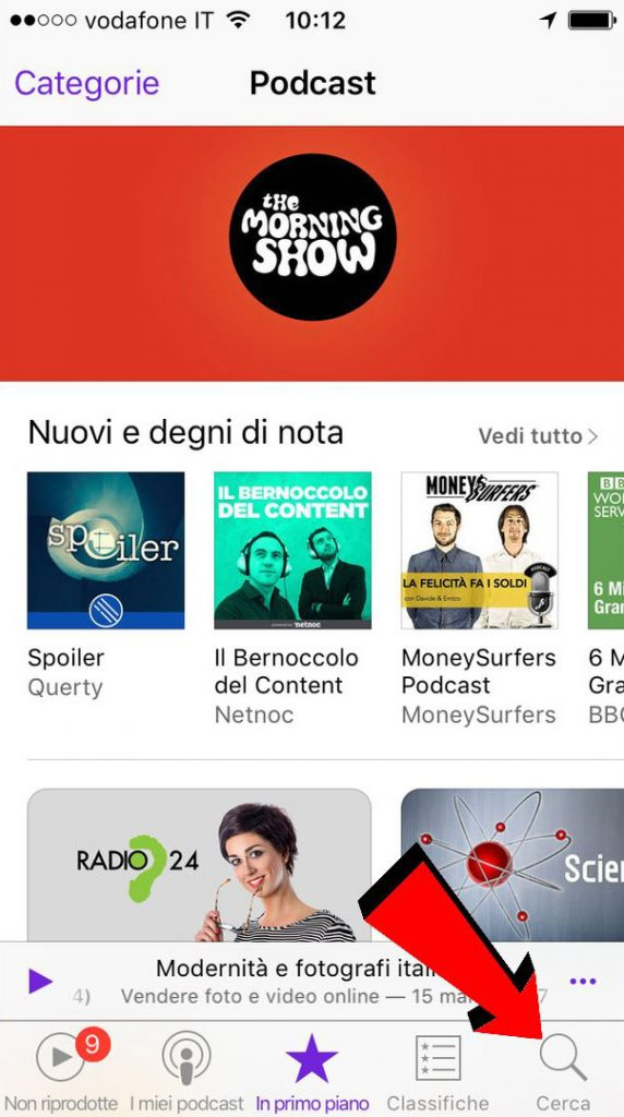 Pagina dei podcast di iTunes su iOS