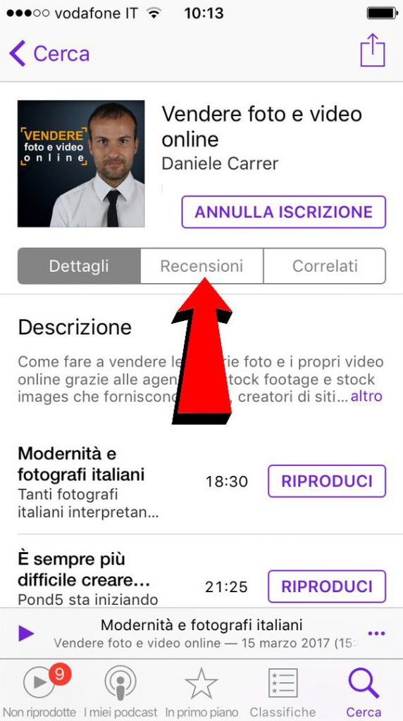 "Pagina del podcast ""vendere foto e video online"" su iTunes per iOS."