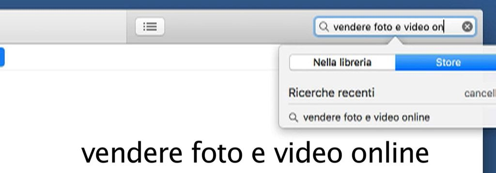 "Ricerca del podcast ""vendere foto e video online"" su Mac OS"