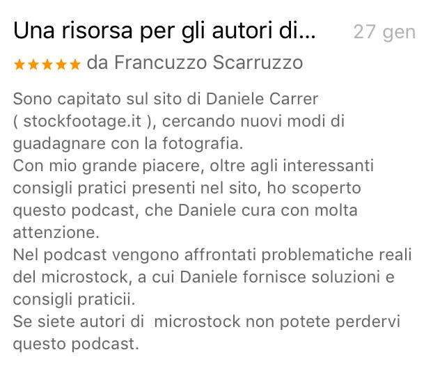 """Recensione al podcast di Daniele Carrer """"vendere foto e video online"""""""