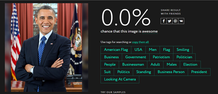 Schermata dello strumento di creazione delle keyword attraverso l'intelligenza artificiale su everypixel.com con la foto di Obama